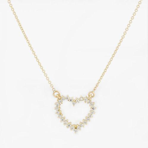 """שרשרת """"לב"""" משובצת יהלומים"""