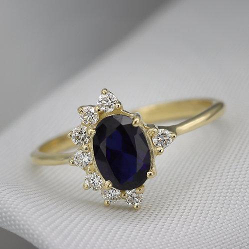 טבעת כתר ספיר ויהלומים