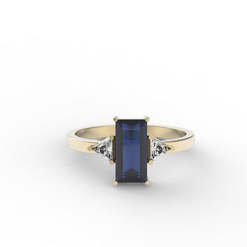 טבעת ספיר בגט ומוסונייט