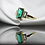 Thumbnail: טבעת אמרלד וספיר לבן  וינטאז' בחיתוך בגט
