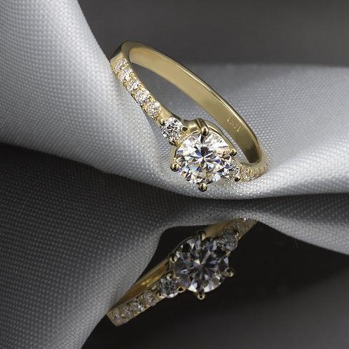 """טבעת אירוסין מוסונייט 5 מ""""מ"""