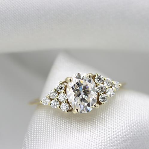 טבעת מוסונייט ויהלומים ארט- דקו 1.45 ct