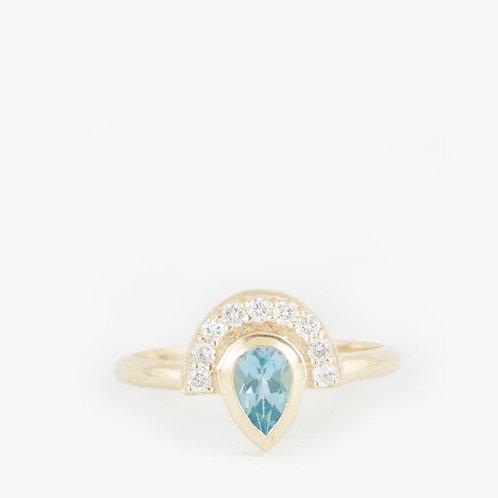 טבעת כתר מניפה בלו-טופז יהלומים