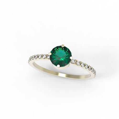 טבעת אמרלד ויהלומים