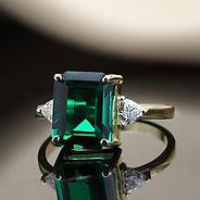 10x8 emerald octagon with 3.5 mm trillio