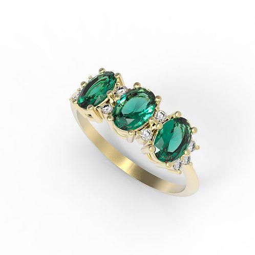טבעת 3 אמרלד ויהלומים