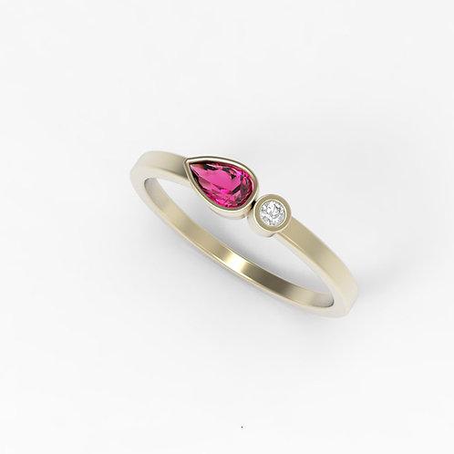 טבעת טיפה - רובי ויהלום