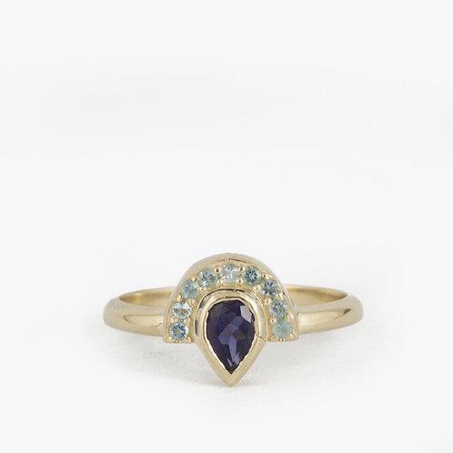 טבעת מניפה בלו-טופז אקוומארין