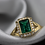 Thumbnail: טבעת זהב משובצת אמרלד 1.45ct ויהלומים