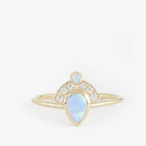 טבעת כתר אופל ויהלומים