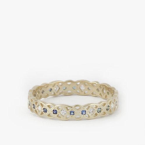 טבעת קלטית ספיר ויהלומים