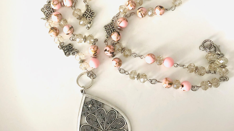 Pink Shou Shan Stone Necklace