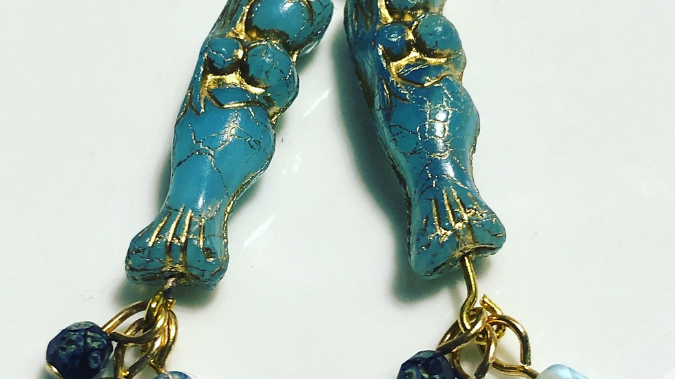 Mermaid Czech glass earrings