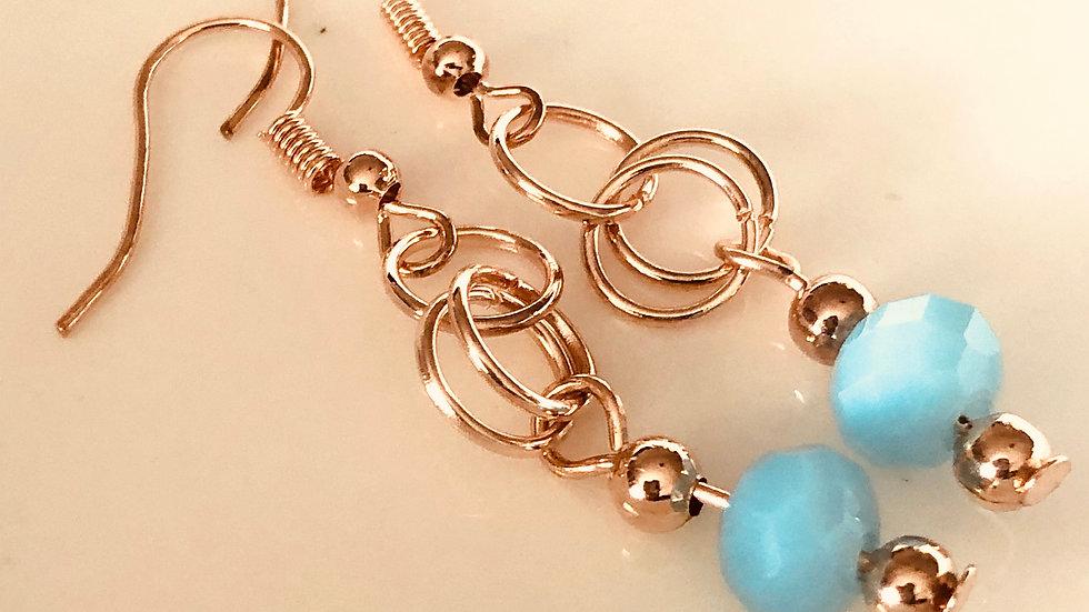 Rosegold and Aqua Blue earrings