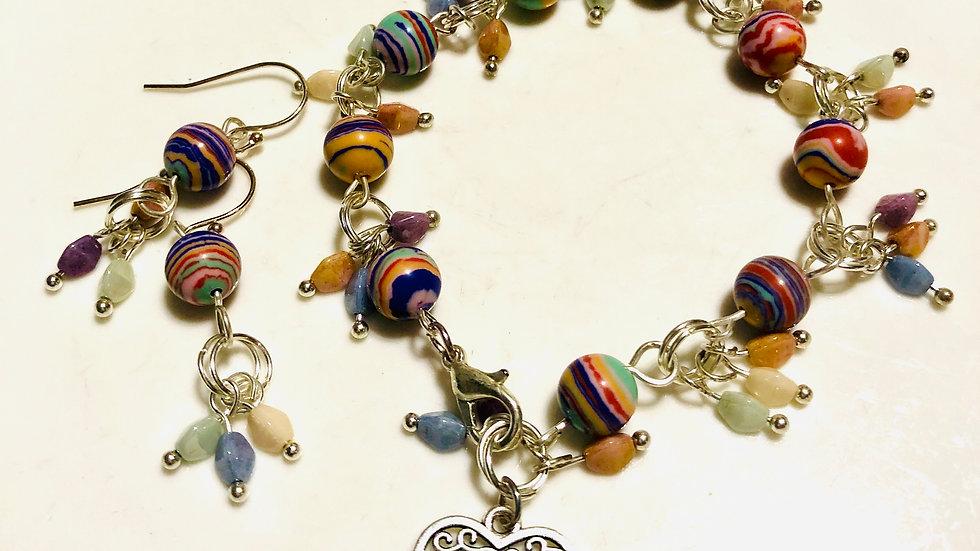 multi colour stone bead bracelet set