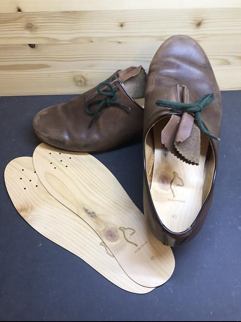 1x Paar Zirben Holzeinlagen für Schuhe