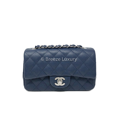 Chanel Blue Caviar Mini Rectangular Flap