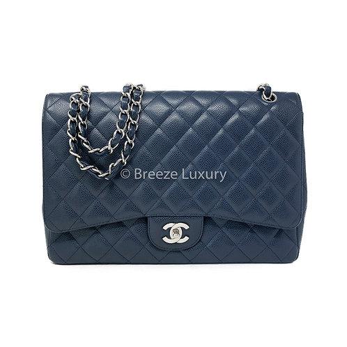 Chanel Navy Blue Caviar Maxi Single Flap