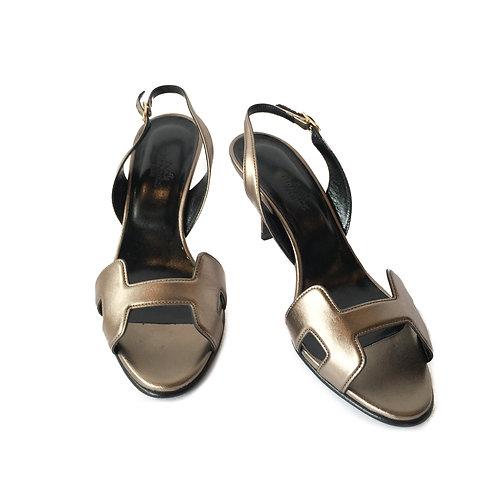 Hermes Bronze Calfskin Leather H Sandal Shoe Heel