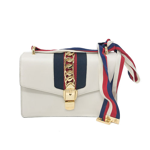 Gucci White Sylvie Small Shoulder Bag