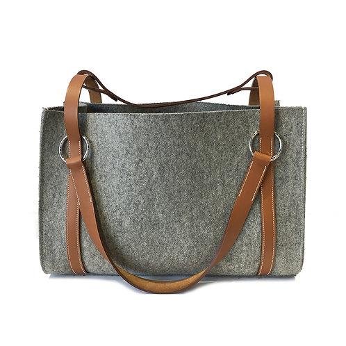 Hermes Grey Felt Cabalicol Tote Bag