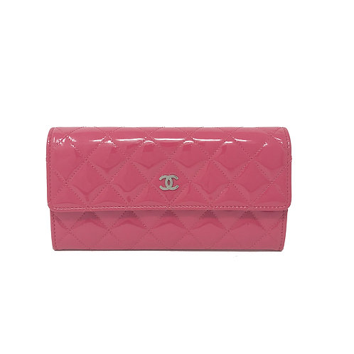 Chanel CC Logo Quilted Pink Patent Wallet
