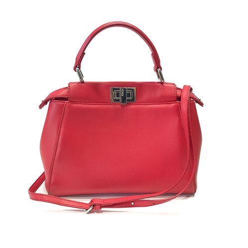 Fendi Red Leather Mini Peekaboo