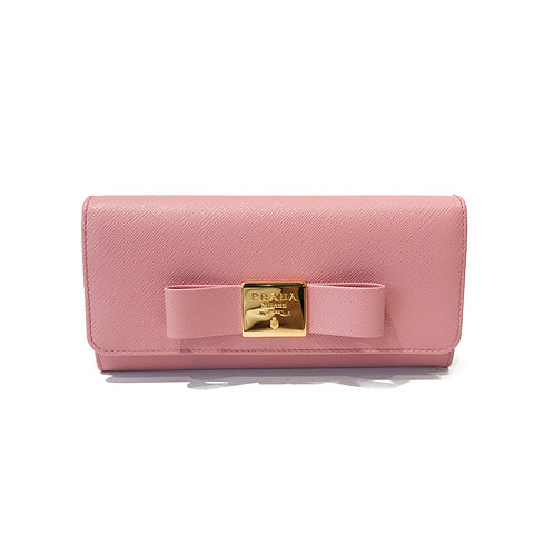 Prada Saffiano Saffiano Wallet with Large Bow