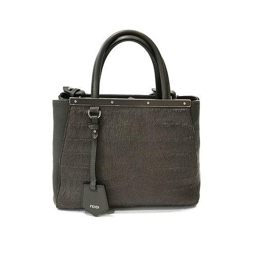 Fendi 'Petite 2Jours Elite' Leather/Fur Tote Bag