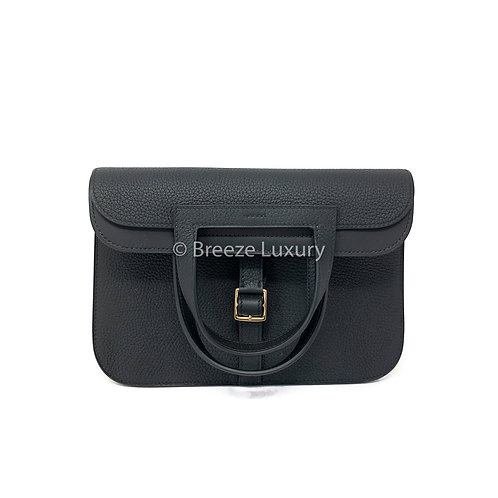 Hermes Noir Halzan 25 Bag