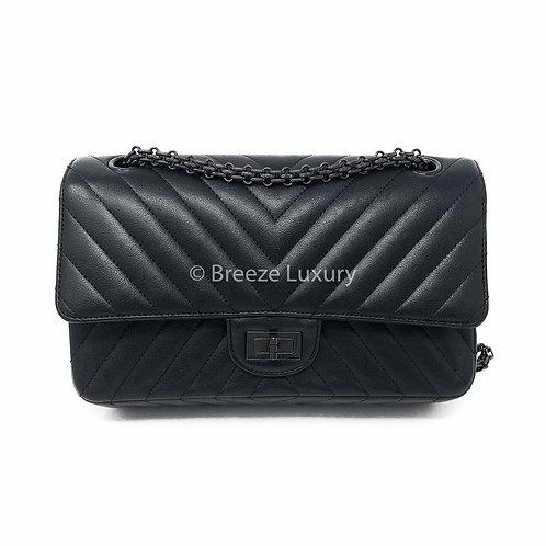 Chanel So Black 2.55 Reissue Chevron Classic Double Flap Bag (Size 225)