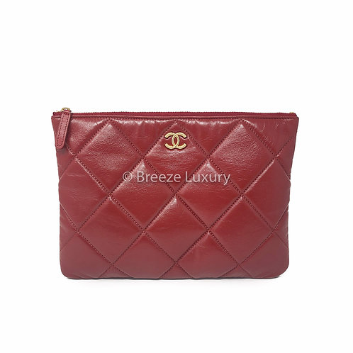 Chanel Quilted Red 19 Clutch