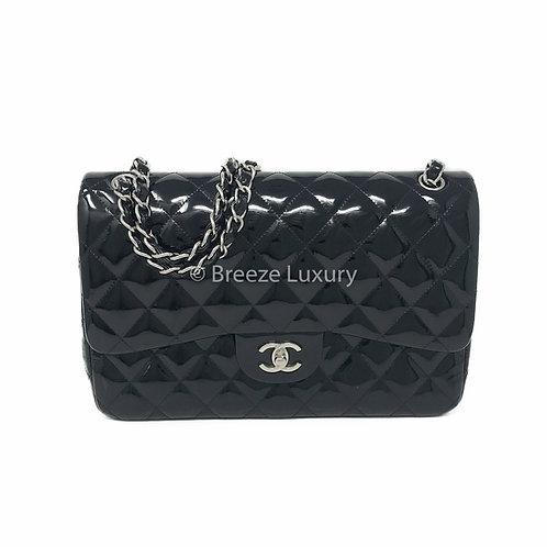Chanel Black Patent Jumbo Double Flap