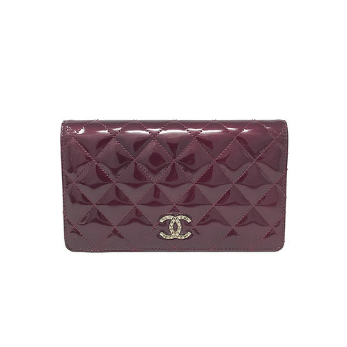 Chanel Classic CC Patent Burgundy Wallet