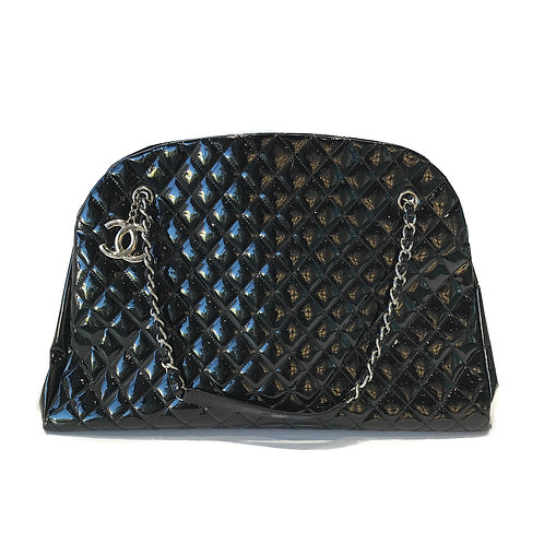 Chanel Quilted Maroon Patent Leather Black Tote