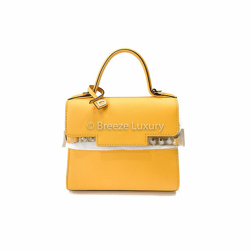 Delvaux Tempête Micro Yellow Leather Cross Body Bag