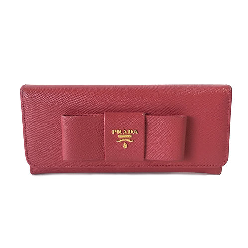 Prada Saffiano Leather Wallet with Large Bow