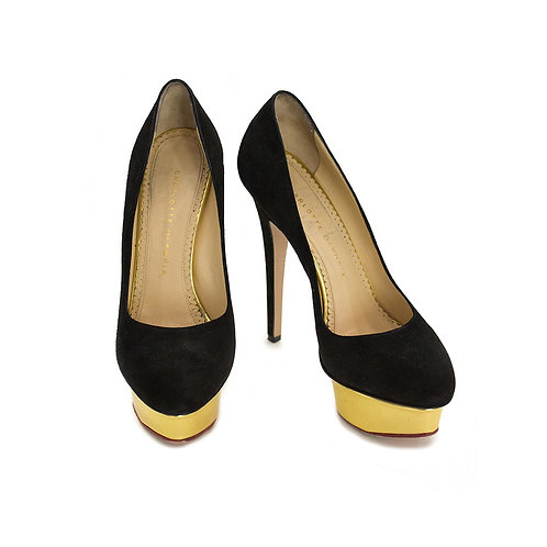 Charlotte Olympia Dolly Black/Gold Pump