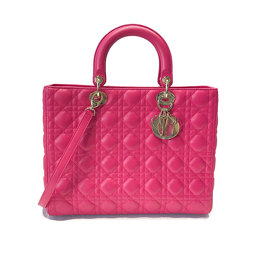 Christian Dior Large Fuchsia Lady Dior Bag