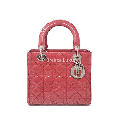 Christian Dior Medium Patent Red Lady Dior Bag