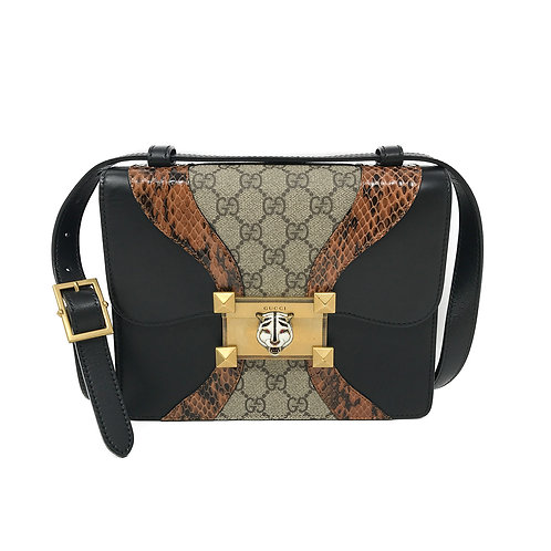 Gucci Osiride Genuine Snakeskin & Gg Supreme Shoulder Bag