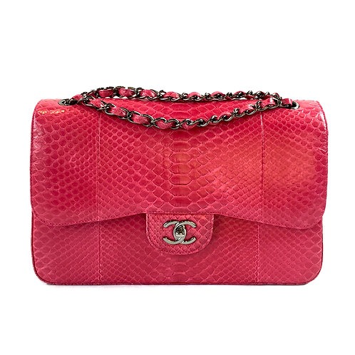Chanel Fuchsia Pink Python Jumbo Double Flap Bag