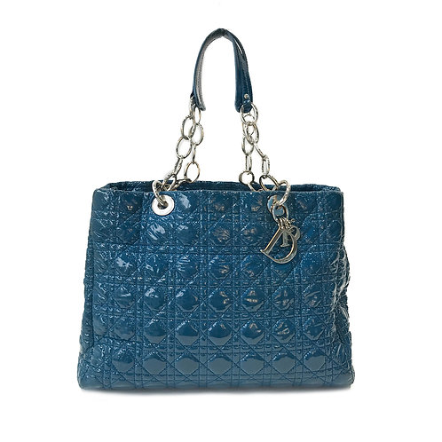 Christian Dior Blue Patent Cannage Dior Soft Shopping Tote
