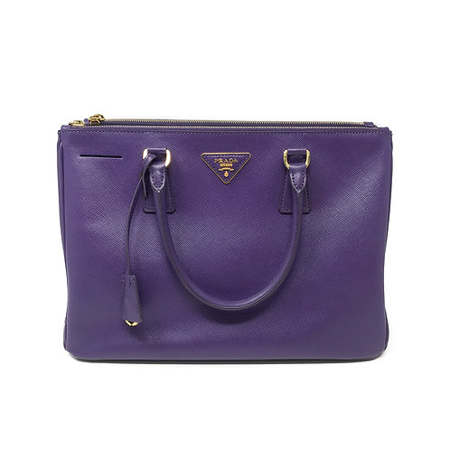 Prada Purple Saffiano Medium Double Zip Lux Tote