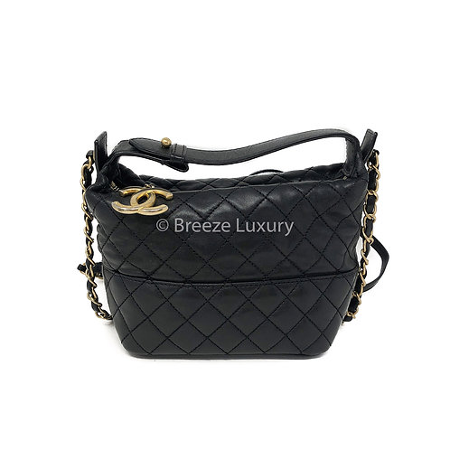 Chanel Quilted Black Hobo Crossbody Bag
