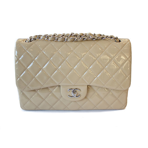 Chanel Quilted Double Flap Jumbo Patent Bag