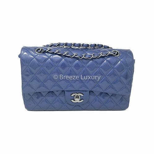 Chanel Blue Patent Medium Double Flap