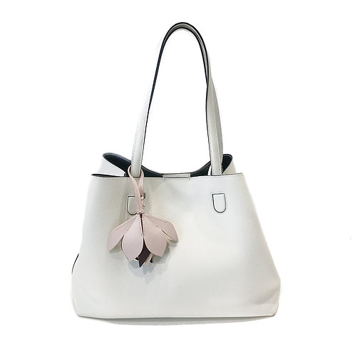 Christian Dior Calfskin Medium Blossom Tote White