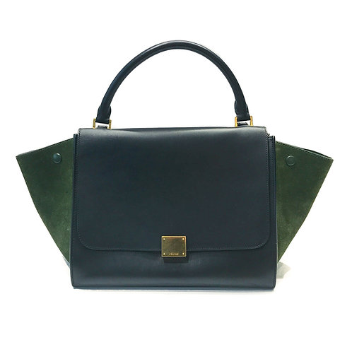 Celine Duo-Color Smooth Leather and Suede Medium Trapeze Bag