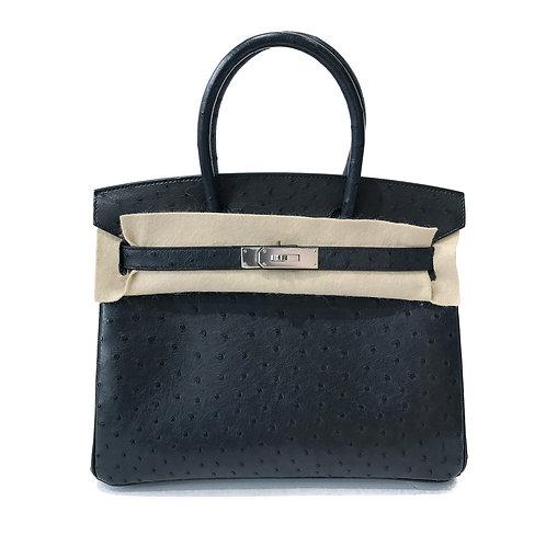 Hermès PHW Bleu Indigo Ostrich Birkin 30